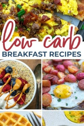 low carb breakfast recipe photo collage