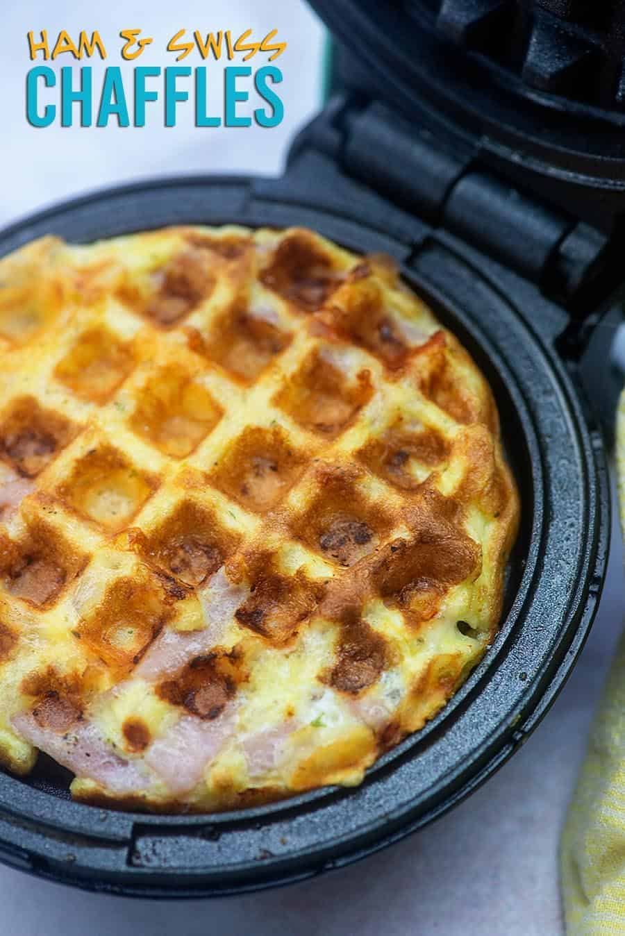 A chaffle sitting in a mini waffle iron