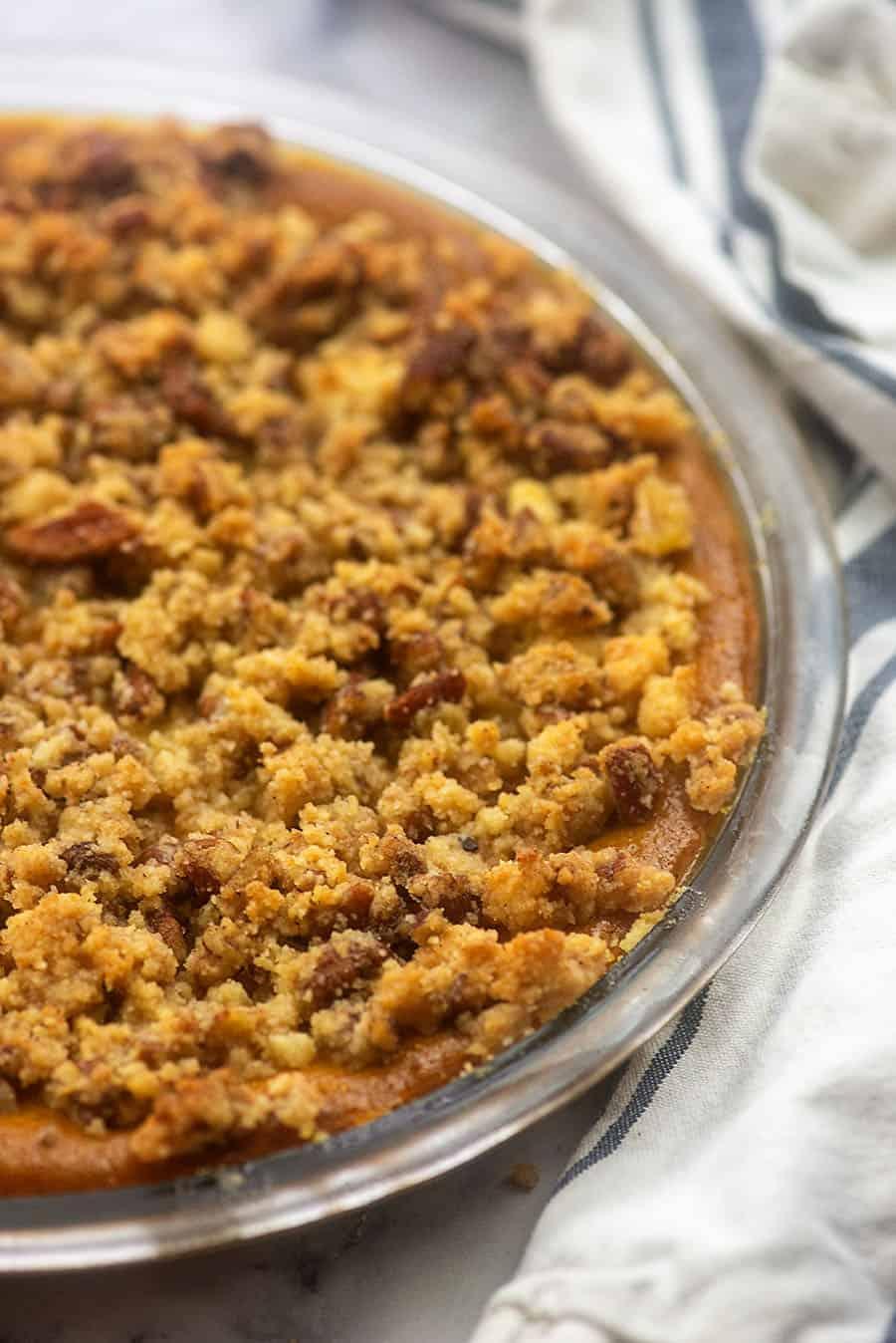 Streusel topped crustless pumpkin pie