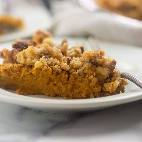 Keto Pumpkin Pie with Streusel Topping