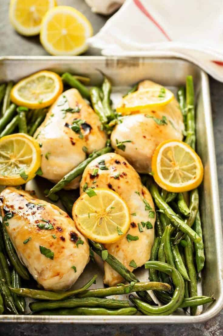 Sheet Pan Roasted Lemon Herb Chicken & Green Beans
