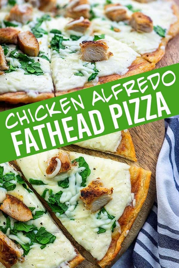 Chicken Alfredo Pizza on low carb dough! This fathead pizza is a fav! #chicken #alfredo #lowcarb #keto