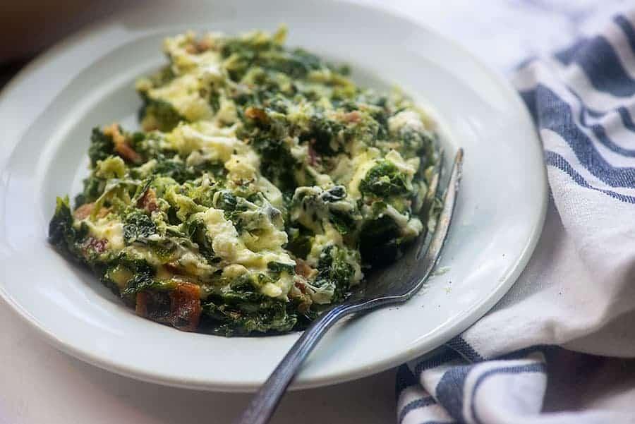 spinach casserole recipe on white plate