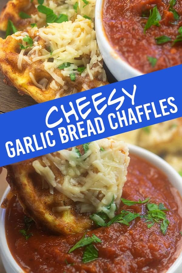 cheesy garlic bread chaffles dipped in tomato sauce
