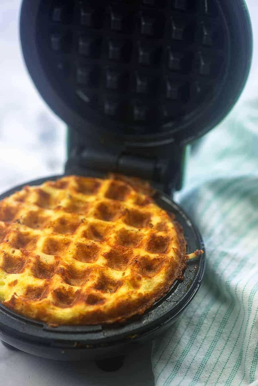 chaffles in waffle iron