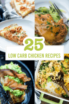 A photo collage of low carb chicken recipes