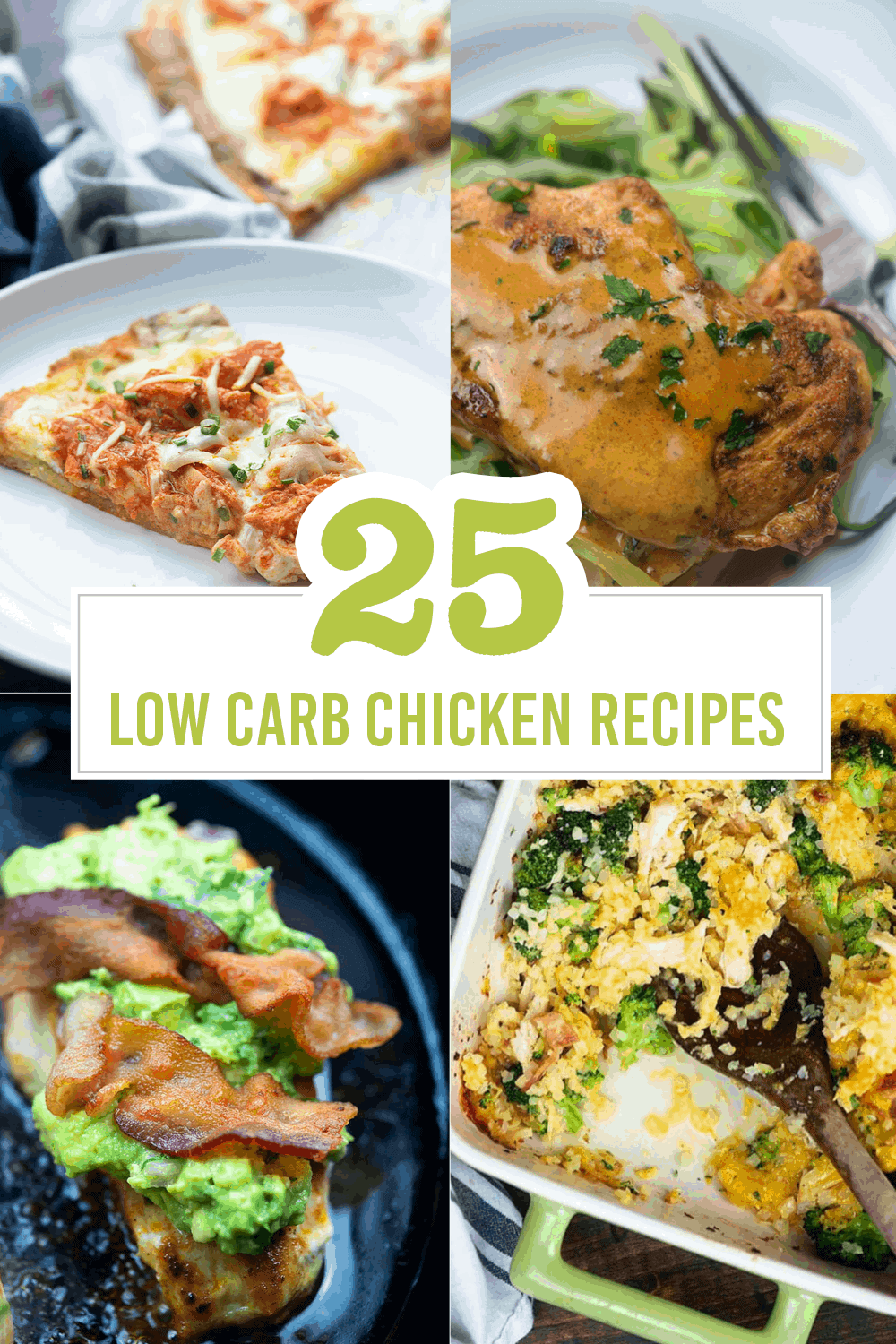 25+ low carb chicken recipes that the WHOLE FAMILY will love!! #lowcarb #keto #chicken #recipes