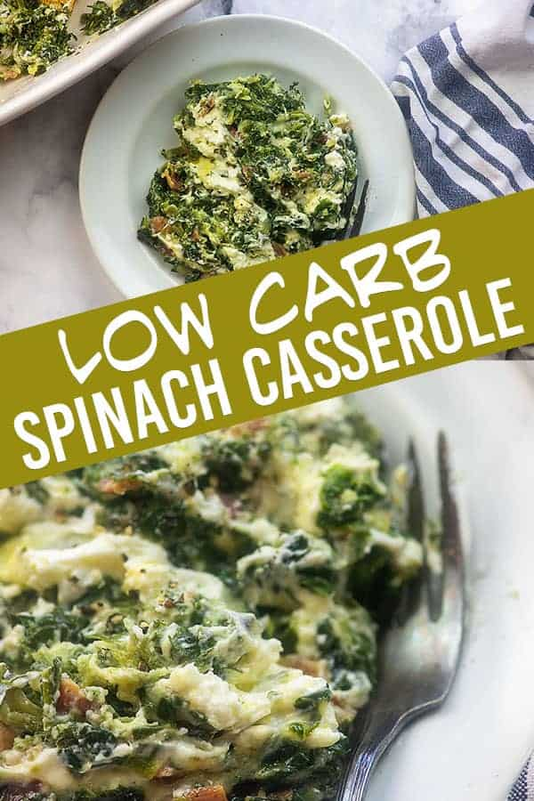 white plate of spinach casserole