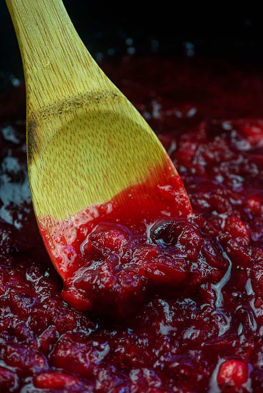 low carb cranberry sauce in pan