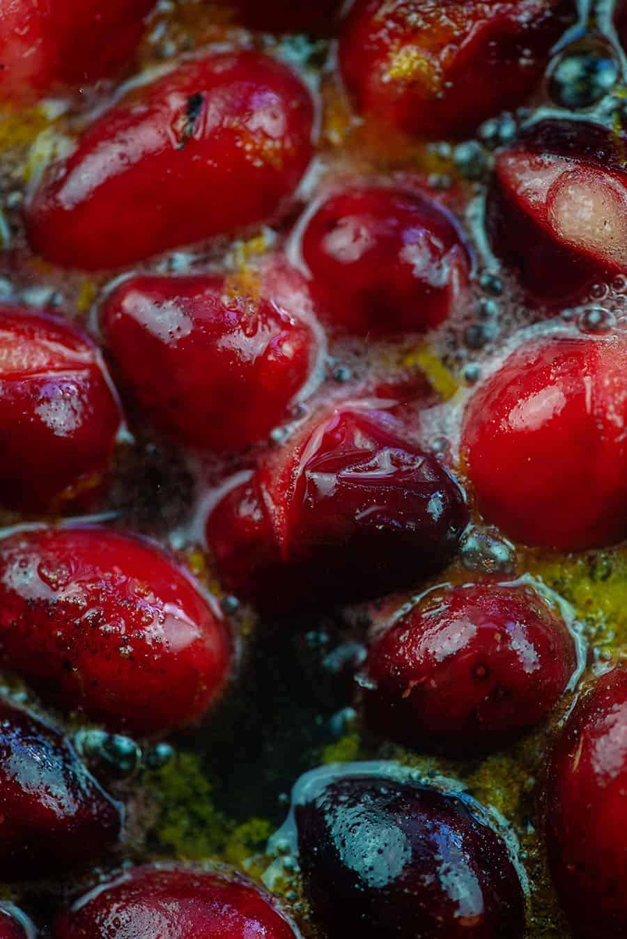 close ups of cranberries