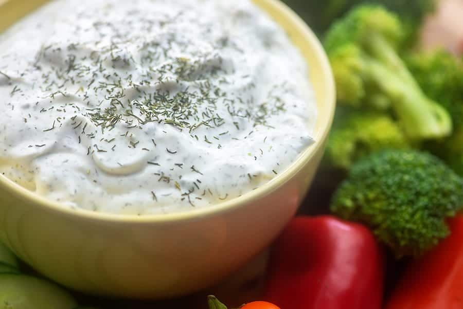 vegetable dip with dill in bowl