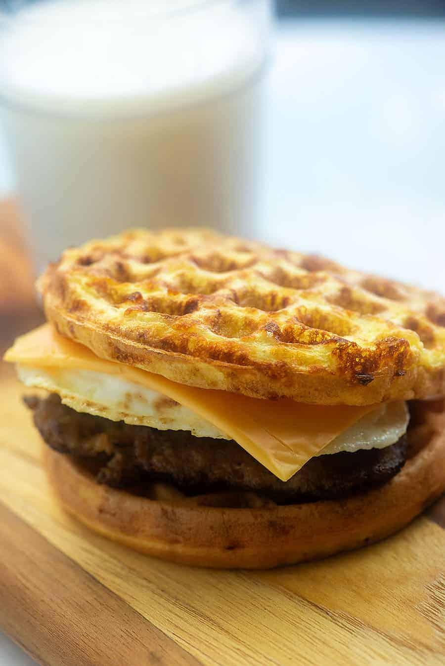 chaffle breakfast sandwich