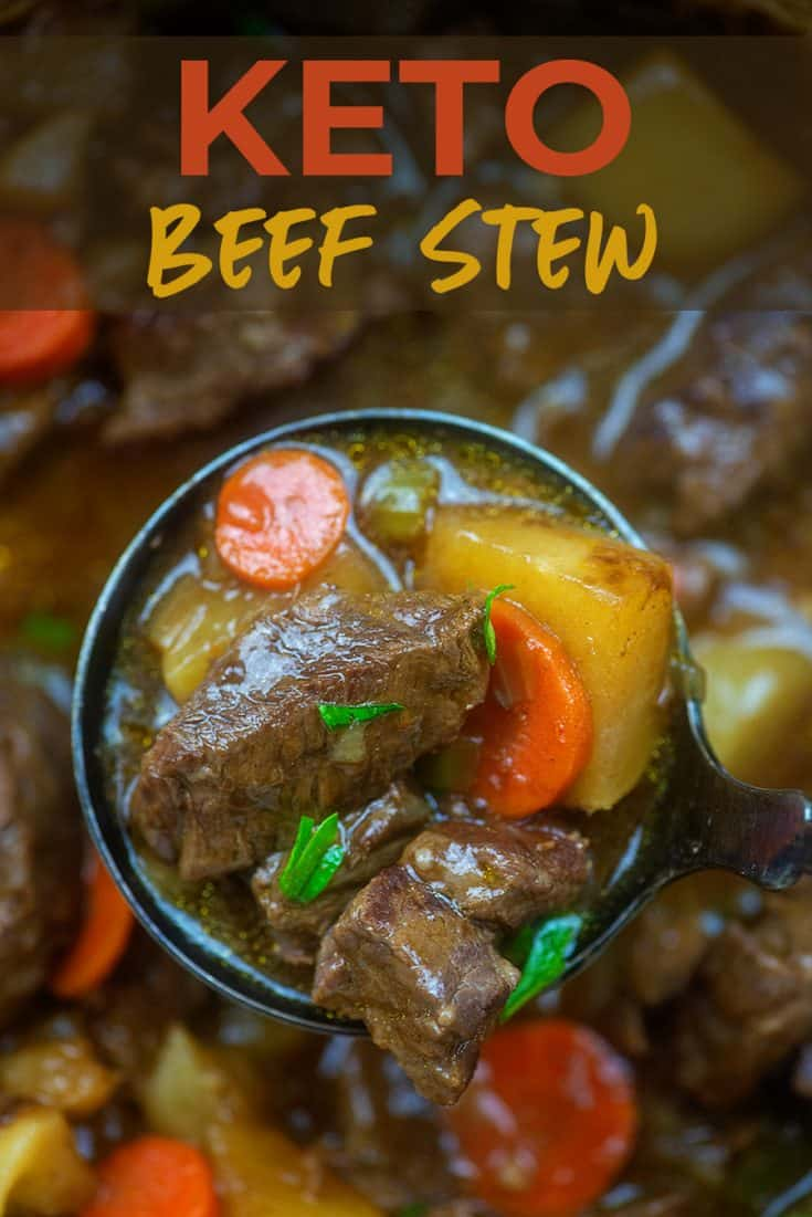 This keto beef stew is made with turnips instead of potatoes and NO ONE WILL EVEN NOTICE! So rich, hearty, and delicious! #lowcarb #keto #beefstew #turnips