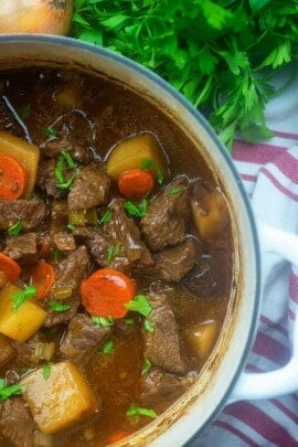 low carb beef stew recipe in pot