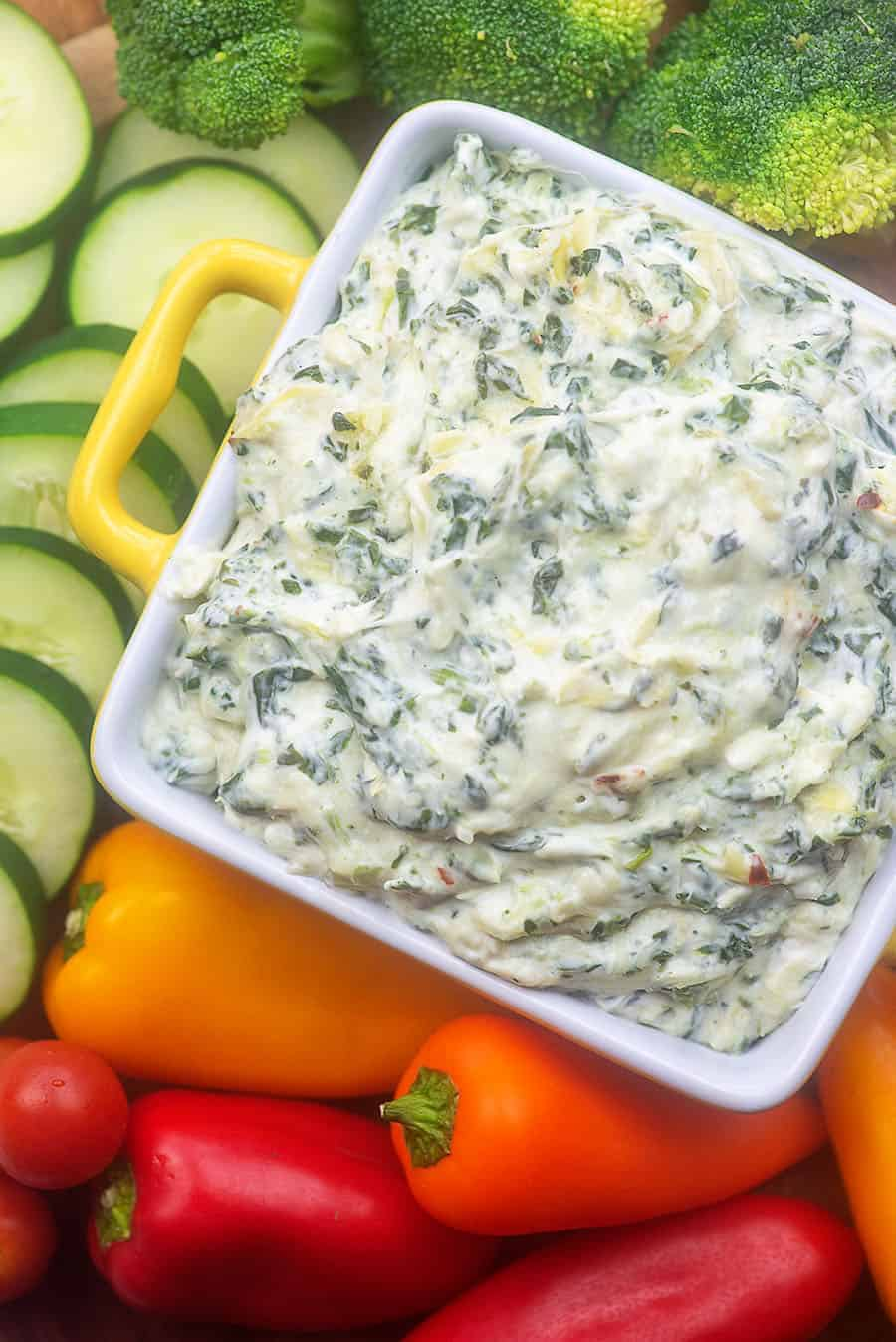 recipe for low carb spinach artichoke dip with vegetables