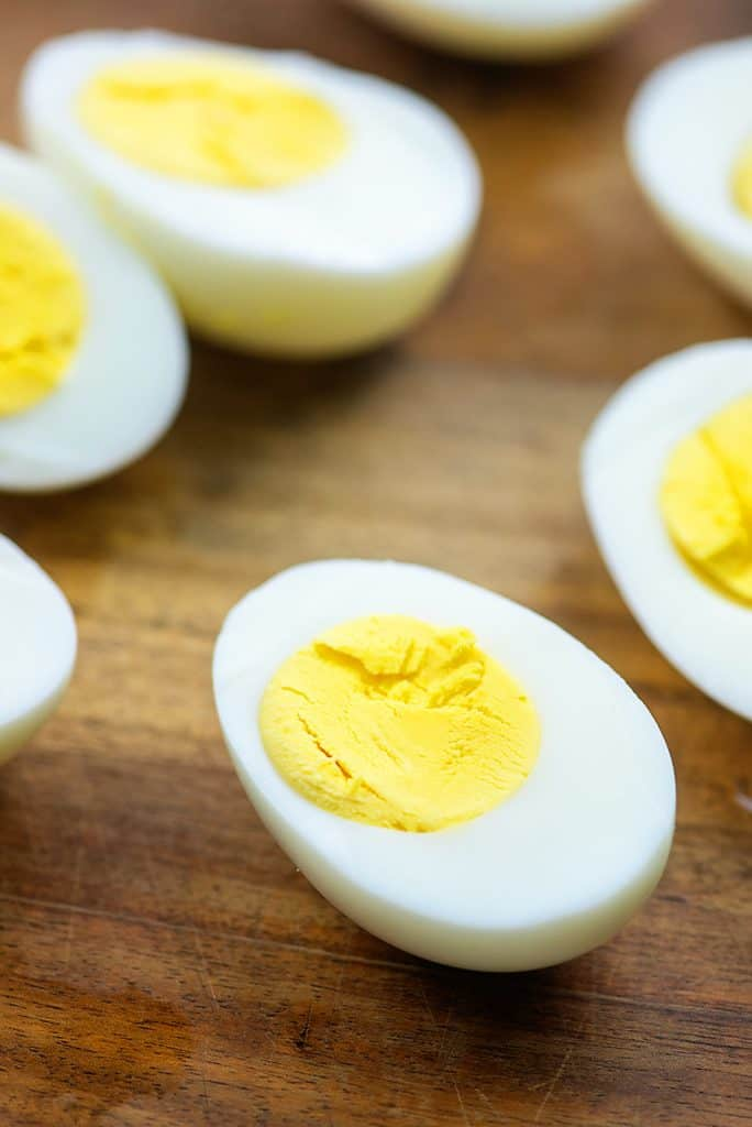 hard boiled eggs sliced in half