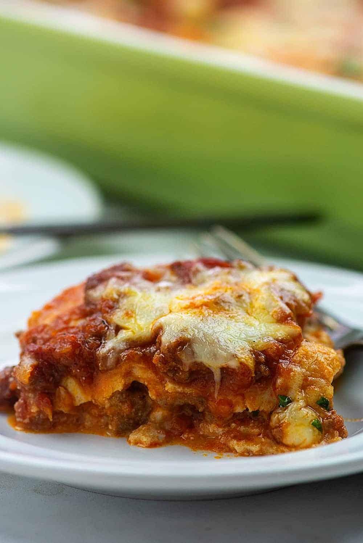 close up of low carb lasagna