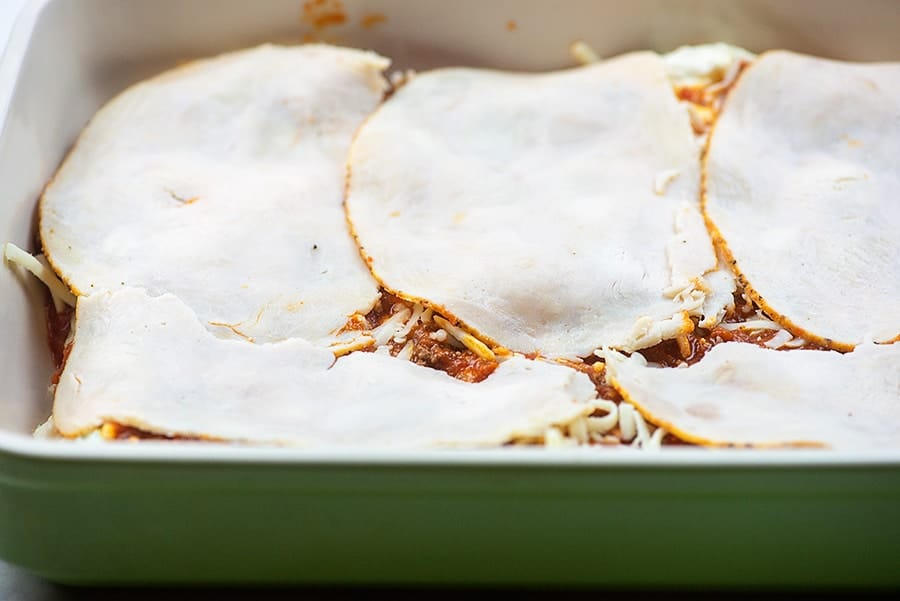 raw low carb lasagna noodles in casserole dish