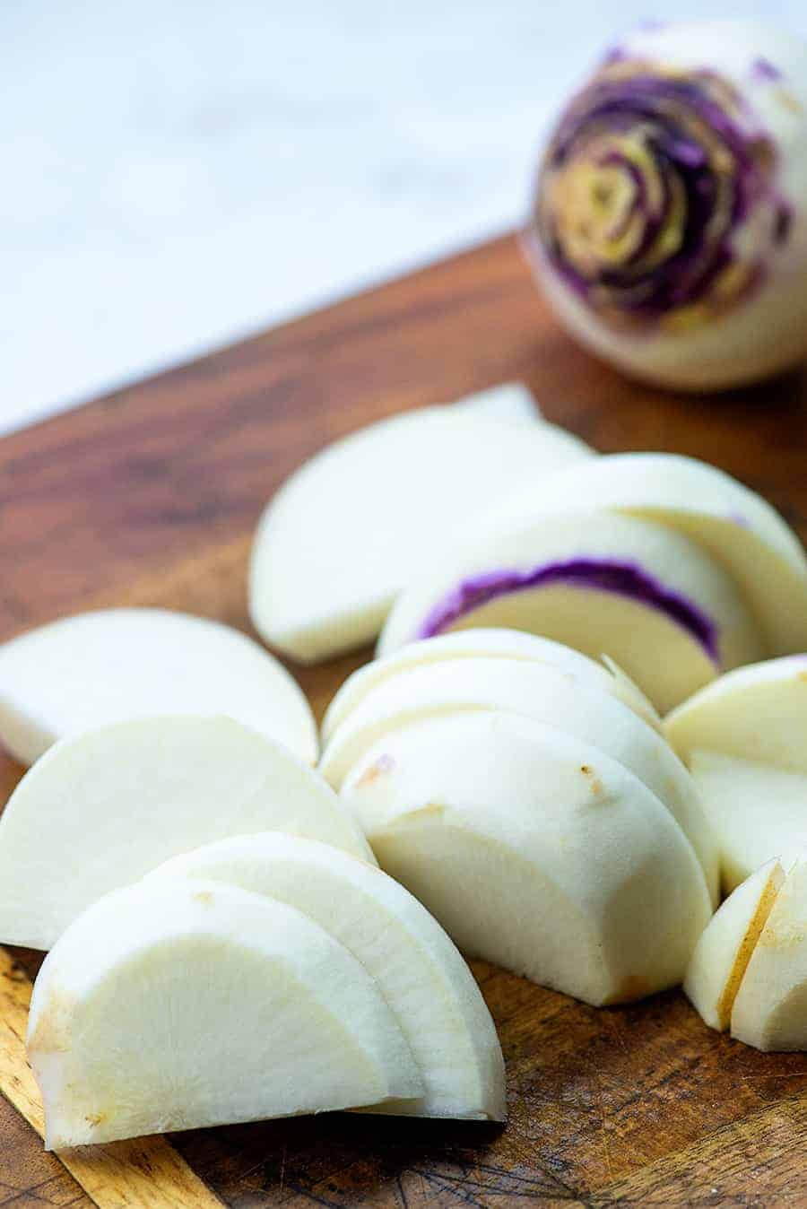 sliced turnips