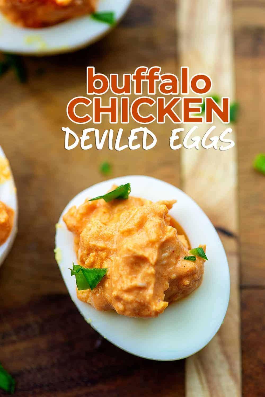 buffalo chicken deviled eggs on cutting board