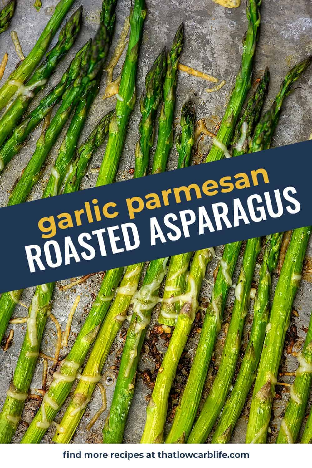garlic parmesan roasted asparagus on baking sheet