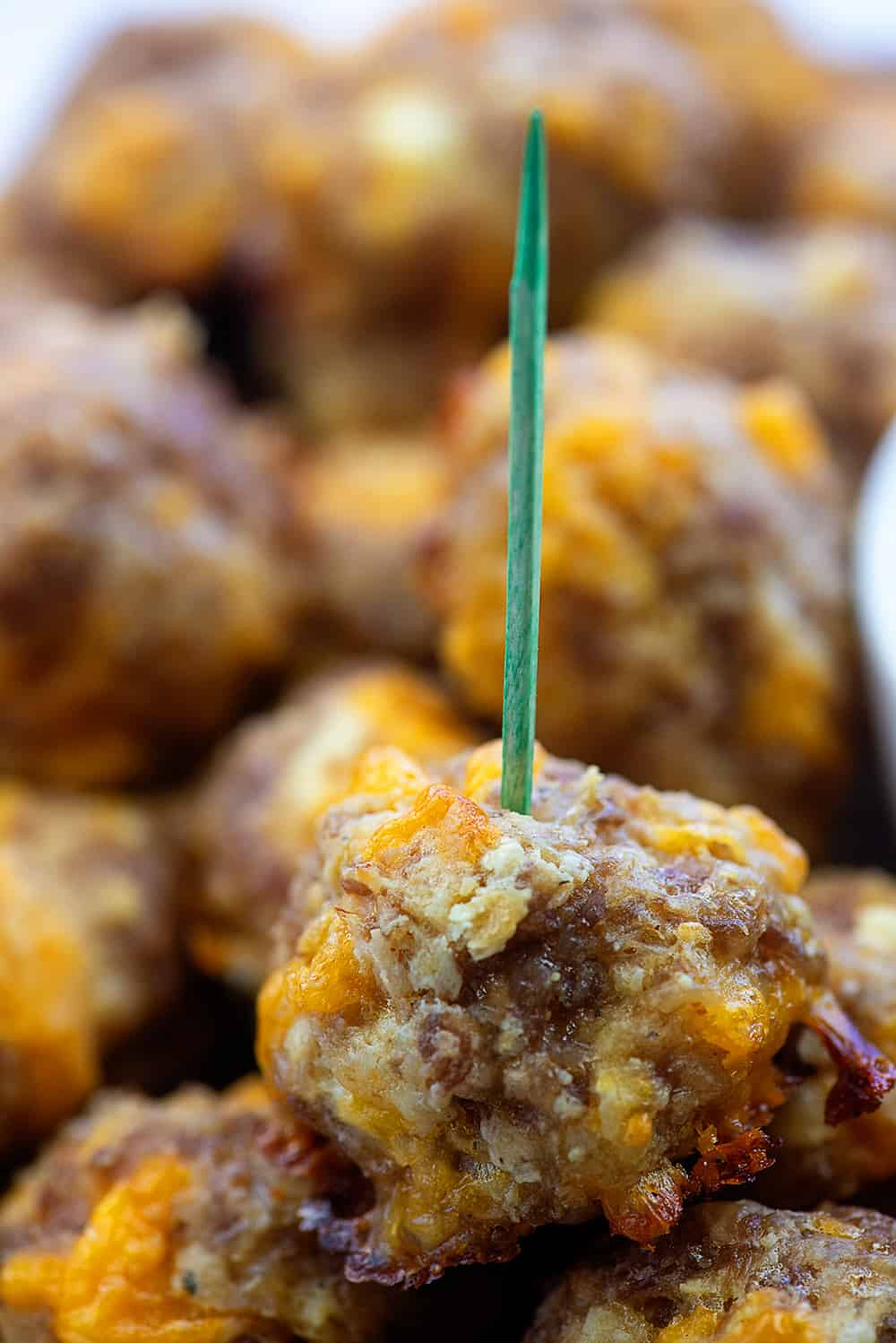 cream cheese sausage ball on toothpick