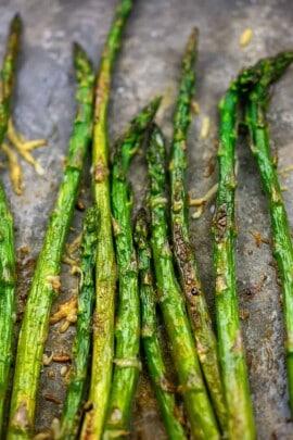 easy roasted asparagus on metal baking sheet