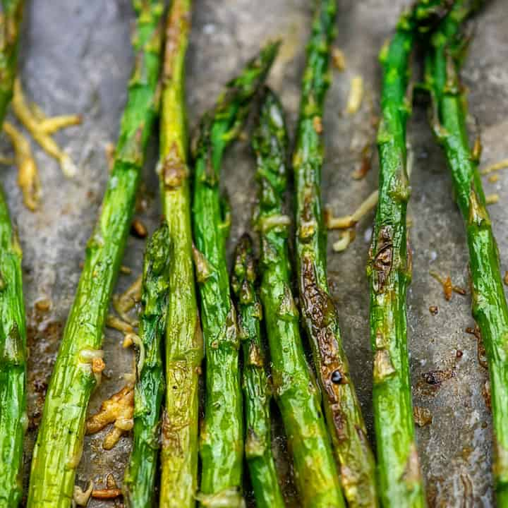 easy roasted asparagus on metal baking sheet