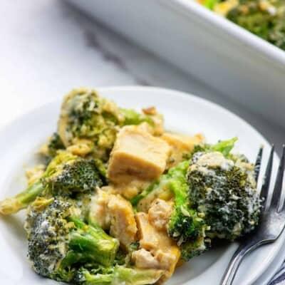 keto broccoli and chicken casserole on white plates