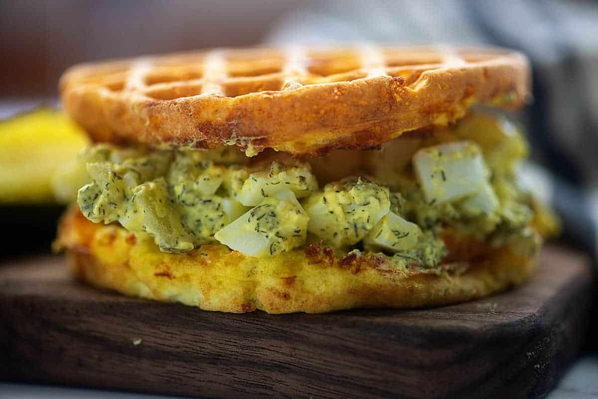 keto egg salad sandwich on chaffles