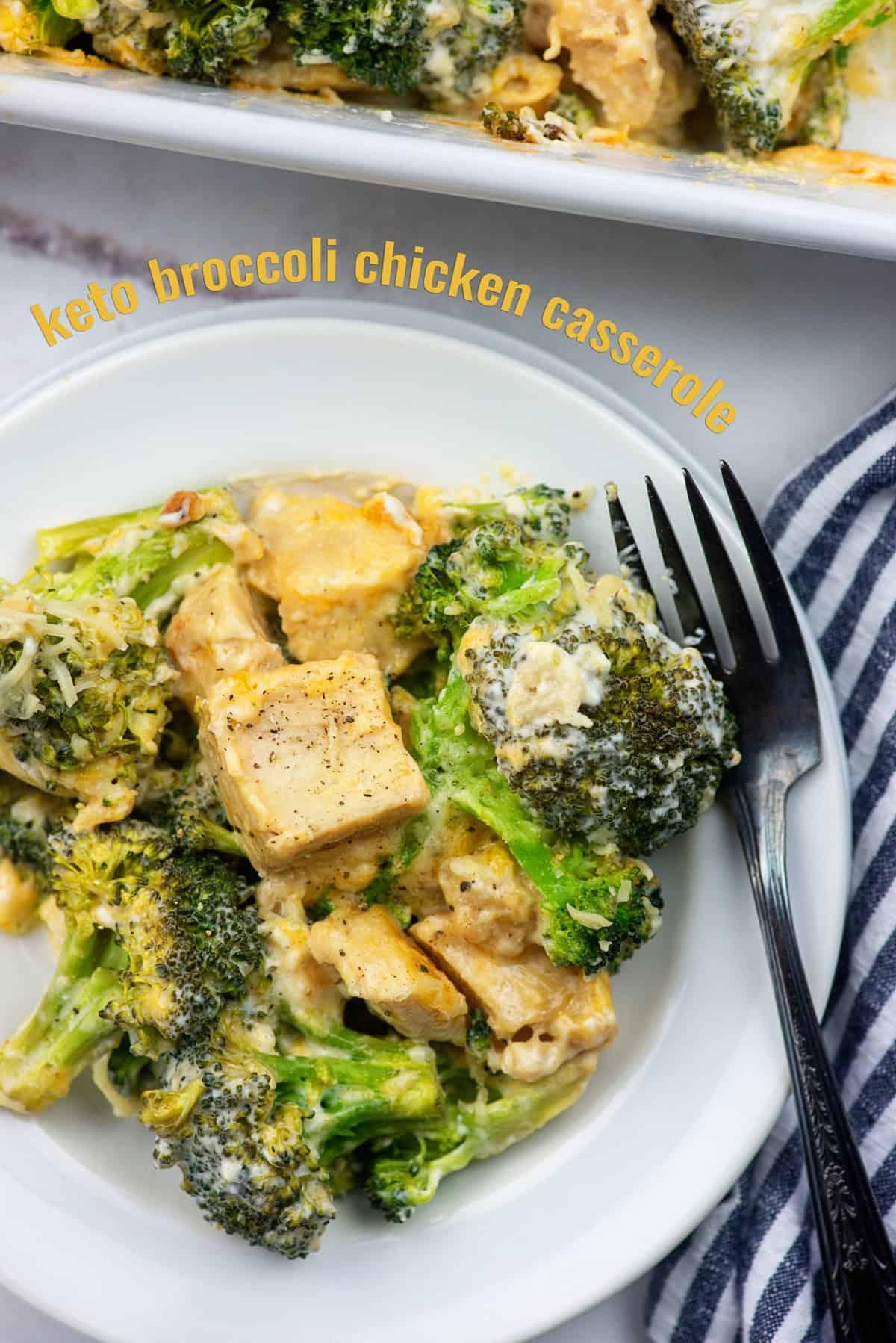 keto broccoli chicken casserole on white plate