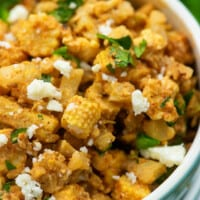 low carb esquites with baby corn in blue bowl