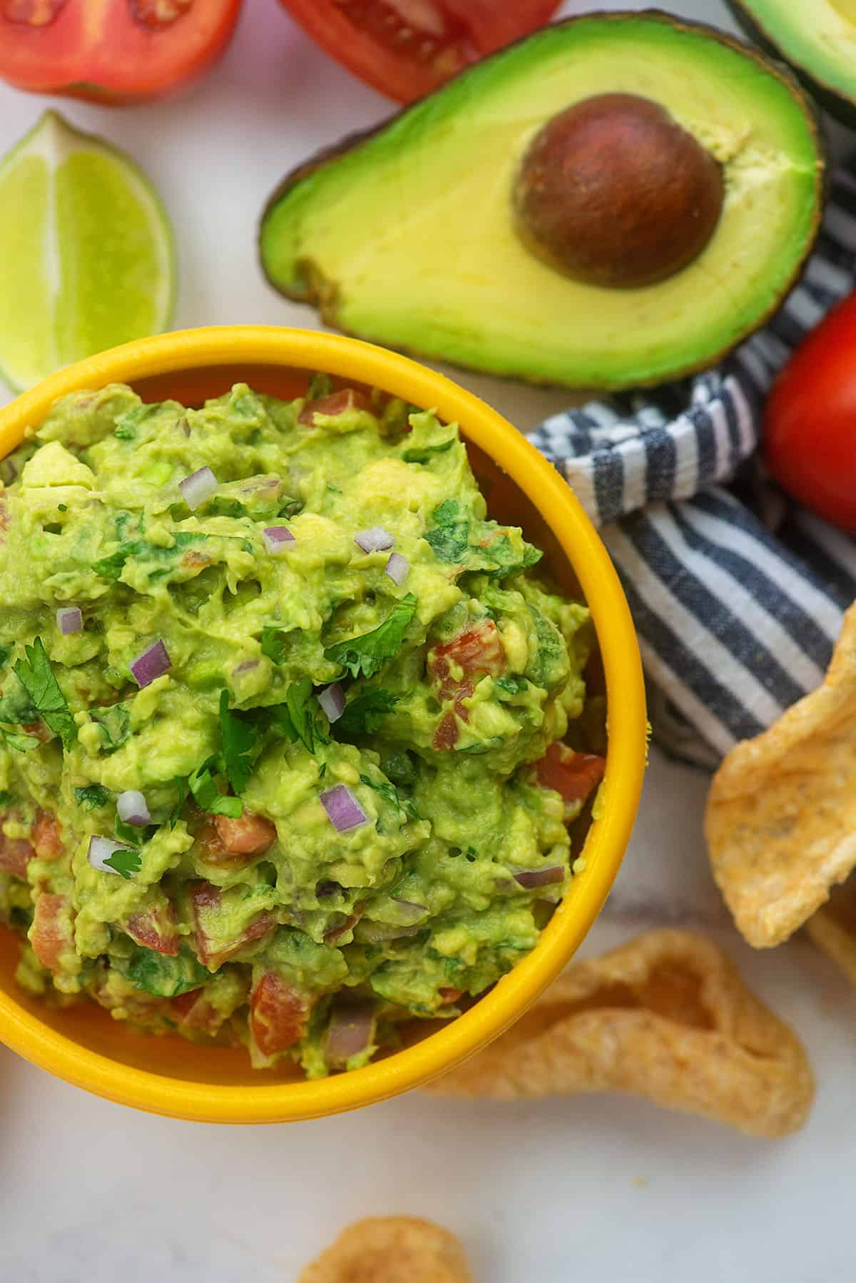 low carb guacamole recipe in yellow bowl