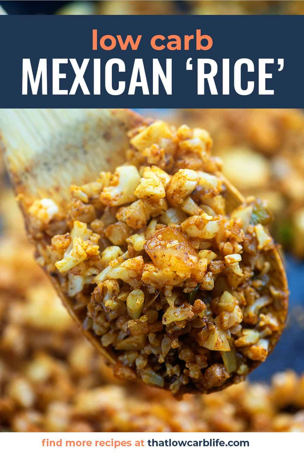 A wooden spoon holding Mexican cauliflower rice up to the camera.