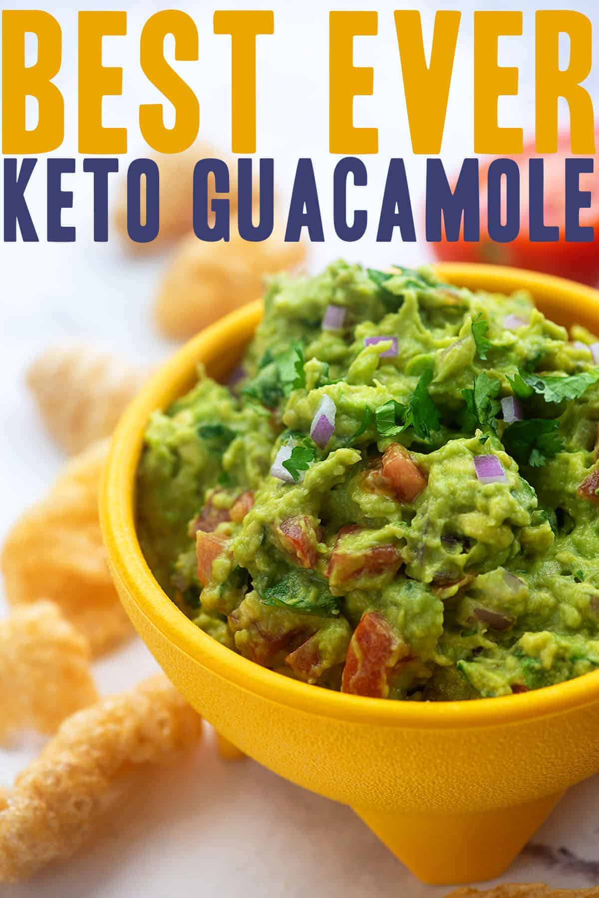 keto guacamole in yellow bowl