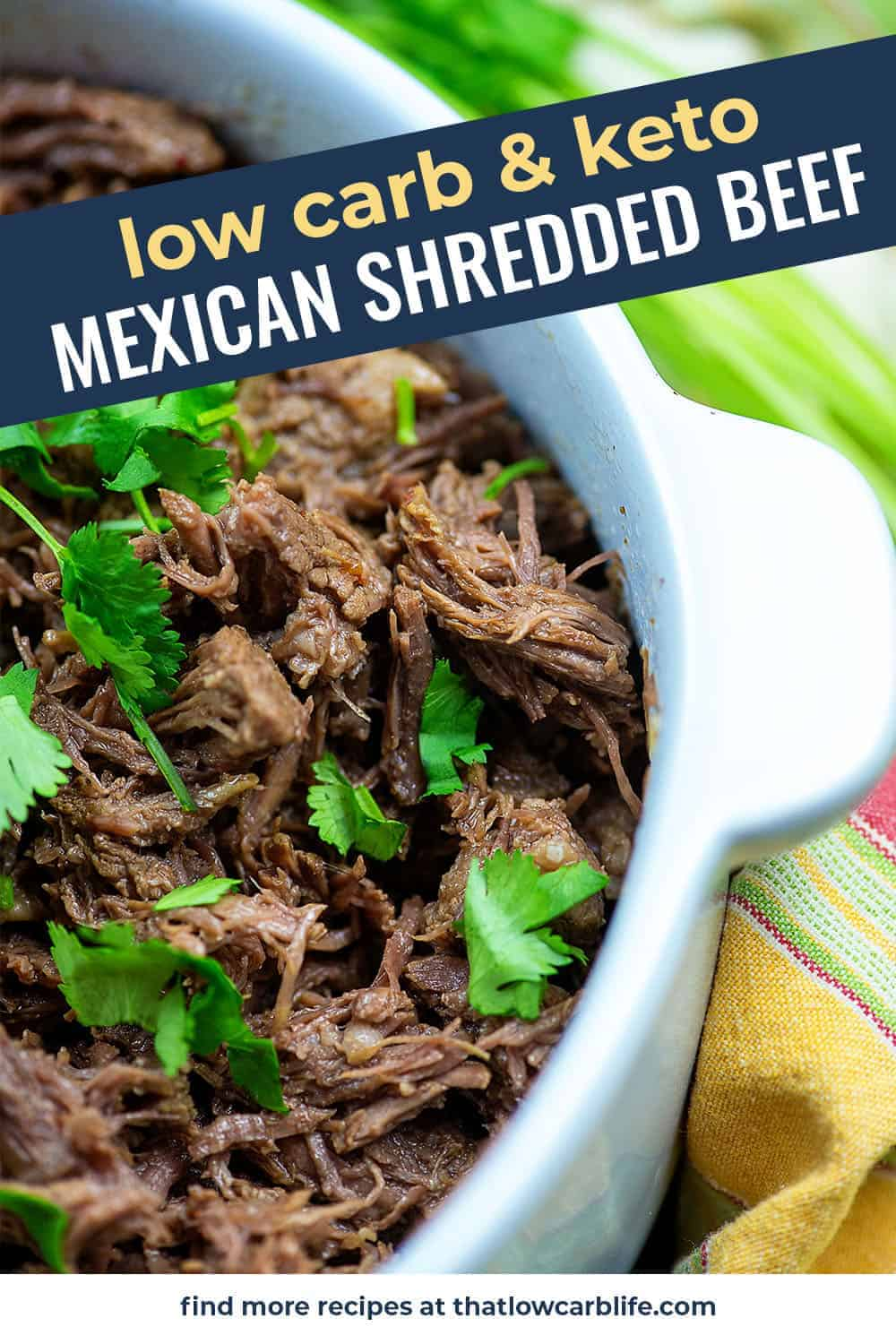 mexican shredded beef in white dish