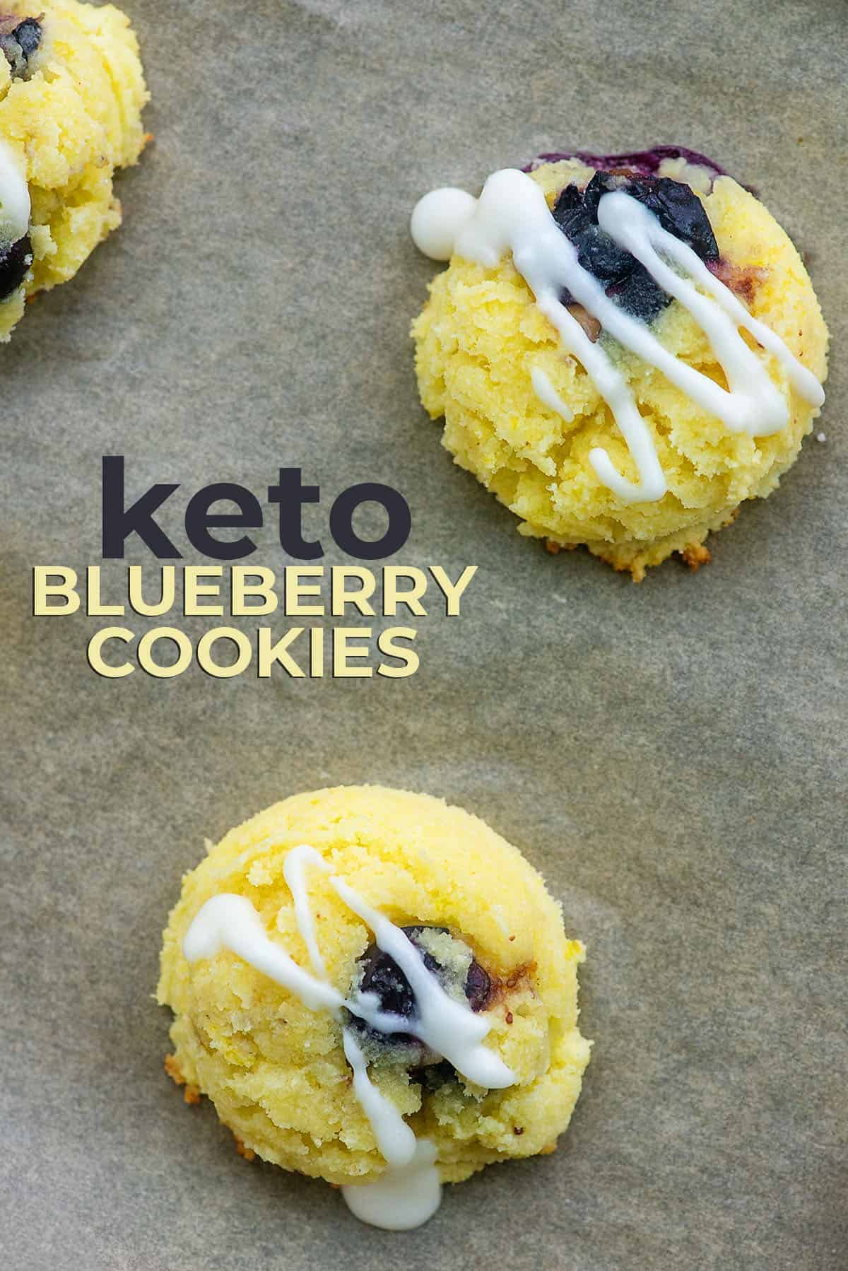 keto lemon cookies with blueberries and glaze