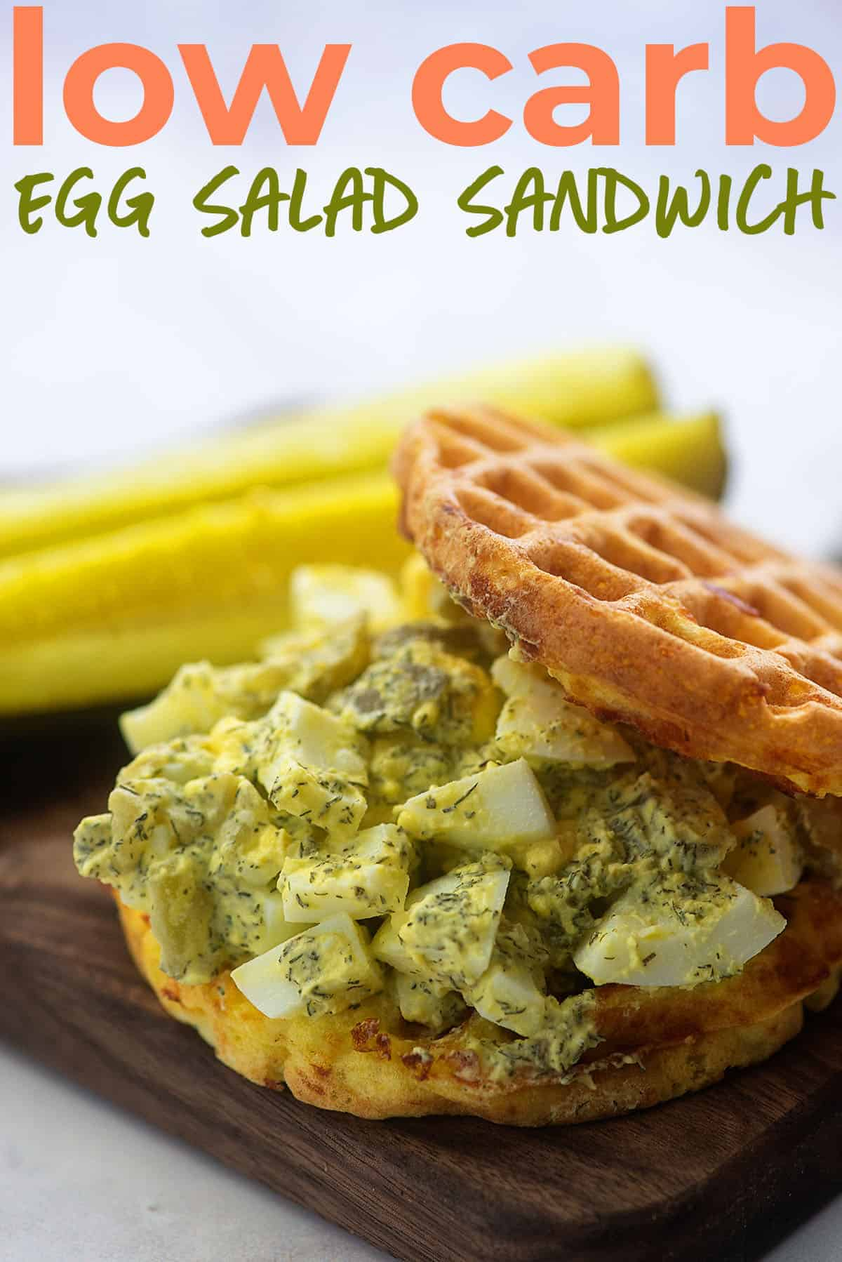 low carb egg salad sandwich on chaffle buns