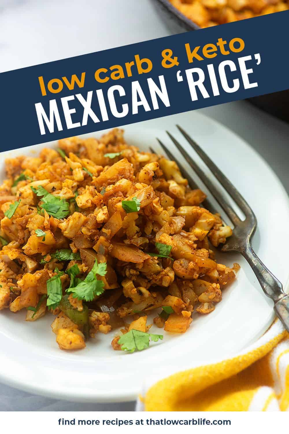 low carb mexican cauliflower rice on white plate