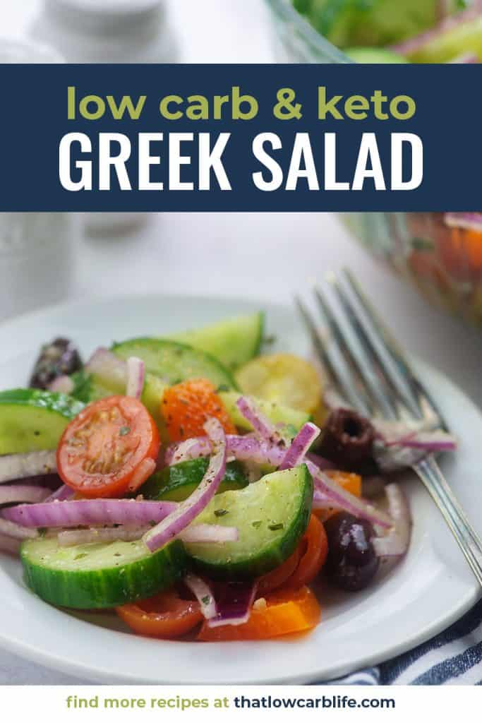 keto greek salad recipe on white plate