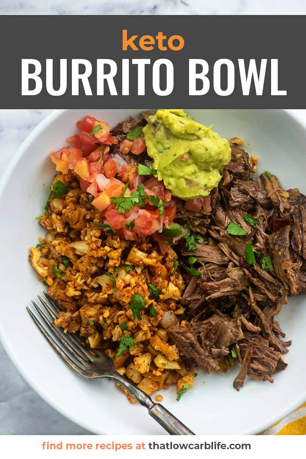 keto burrito bowl in white bowl