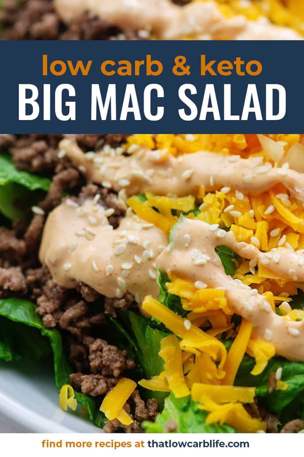 big mac salad in white bowl with big mac dressing