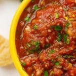 restaurant style salsa in yellow salsa bowl