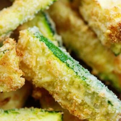 air fryer zucchini strips in a pile