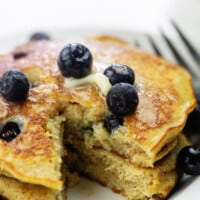 low carb blueberry pancakes on white plate