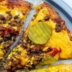 keto cheeseburger pizza on pizza pan