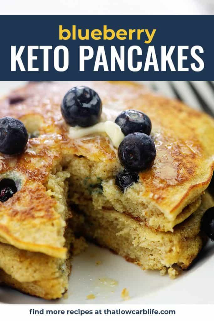 stack of keto pancakes with berries