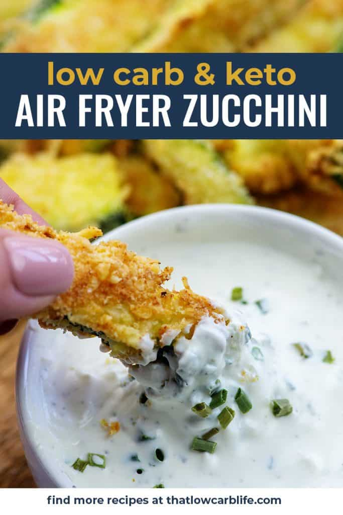 zucchini fry dipping in ranch dressing