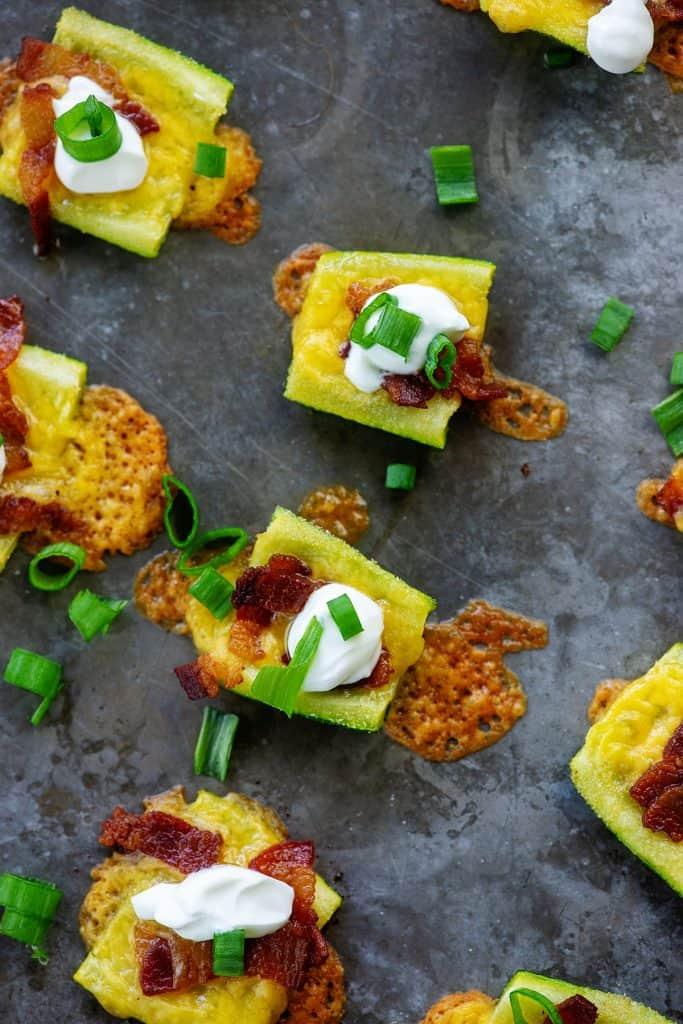 cheesy zucchini skins on baking shet
