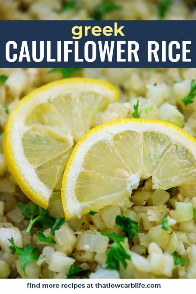 cauliflower rice with lemon slices on top